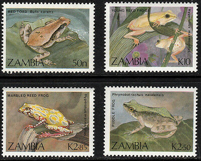 1989 Zambia, Sc#462-465, Toad, Frogs - MNH