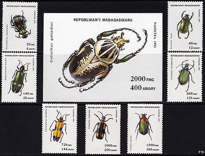 1994 Madagascar Sc#1216-1223 Insects, Beetles Set - MNH Complete Set