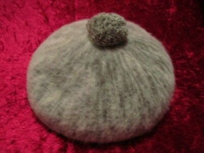 Vintage Furry Grey Green Mix Knit Beret By Kangol Made In England