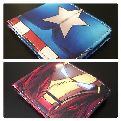 Marvel Comics Avengers Captain America Iron Man Leather Bi-Fold Mens Boys Wallet