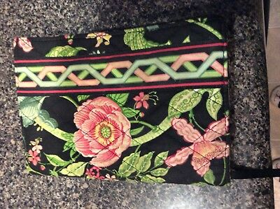 Vera Bradley Paperback Book Cover Ribbon Bookmark Back with flowers