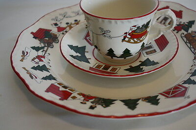Mason's Ironstone Christmas Village Dinner Plate Tea Cup and 7 inch Plate Set