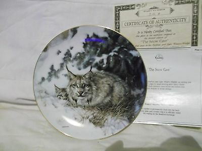 Nancy Glazier  The Snow Cave Lynx Plate #312A 4th issue Wild Wings Wildlife ser