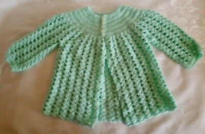 Hand Knit Crocheted Baby Girl Pastel Green Lacy Cardigan Sweater Size 9-12M NEW