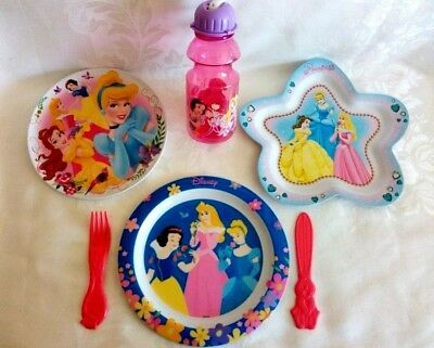 Disney Princesses Melamine (3) Dinner Plates Cup Cutlery Set Excellent Condition