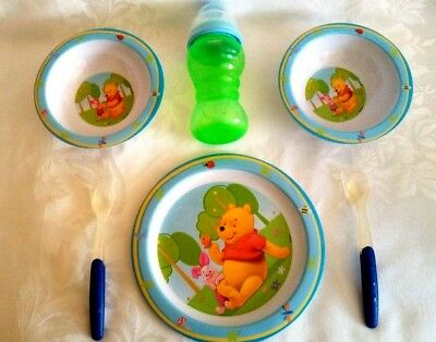 Disney Winnie The Pooh Melamine Child's Dinner Plate 2 Bowls Cup Cutlery Set
