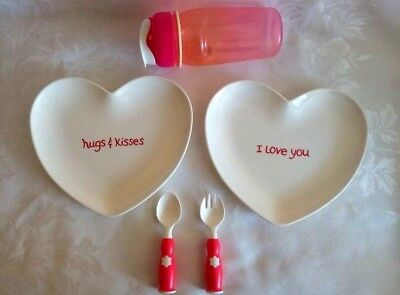 Pottery Barn Kids (2) Heart Shaped Dinner Plates Cup Cutlery Set Excellent