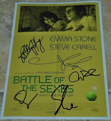 """Battle Of The Sexes Multi Signed 12"""" x 8"""" Photo Emma Stone , Billy Jean King +3"""