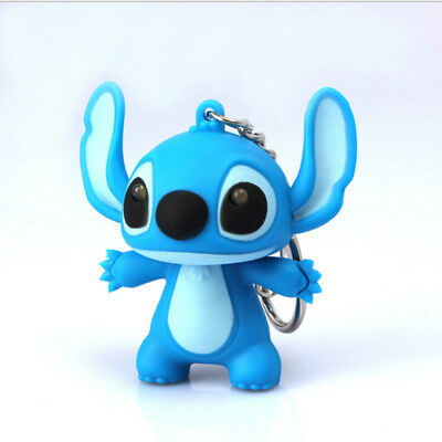 Cute LED Lilo Stitch Keychain with Sound Action Figure Charm Toy Gift