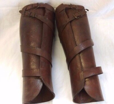Vintage Brown Leather Puttie Leggings Manfield and Sons 1900's Colonial Gaiters