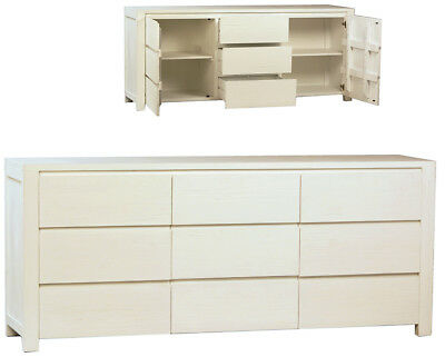 Shabby Chic Sideboard/Buffet Cabinet Pine Wood White Finish,79'' x 33''H.