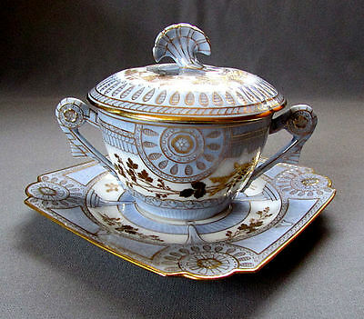 ANTIQUE Limoges COVERED BOUILLON SOUP BOWL Gerard Dufraisseix & Morel circa 1890
