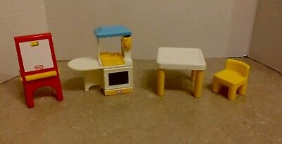 Little tikes dollhouse furniture lot - table chair easel kitchen