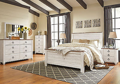 MYRIAD - 5 pieces Traditional White Bedroom Set w/ Queen Panel Headboard Bed NEW