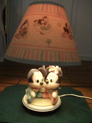 Vintage Mickey &  Minnie Mouse Lamp/Night Light  with Shade Dolly Co USA