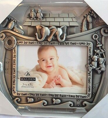 """Baby Picture Frame Noah's Ark in Pewter by Malden New in Box 6"""" x 7 1/2"""""""