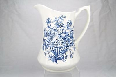Alfred Meakin Jug Floral Bounty, Large - 1.5 Pints, Vintage Blue and White