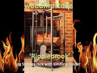 'Ripplebrook' Indoor Log Rack/Storage with Kindling Holder and Fireplace Tools