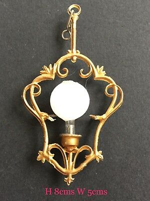 Antique Vintage Dolls House Miniature Light Sconce Solid &Gilt GORGEOUS