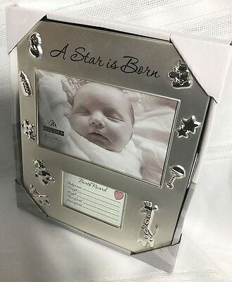 """Baby Picture Frame w/Birth Record """"A Star is Born""""  7 1/4"""" x 9 1/4"""" Frame New"""