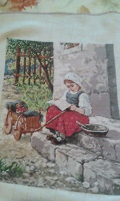 LITTLE GIRL on DOORSTEP  GOBLEN TAPESTRY,WALL HANGING, COMPLETE, EMBROIDERY