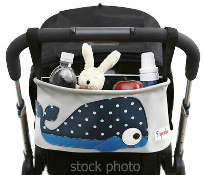 3 Sprouts Polka Dot Whale Baby Stroller Organizer Caddy Cup Holder Basket Bag