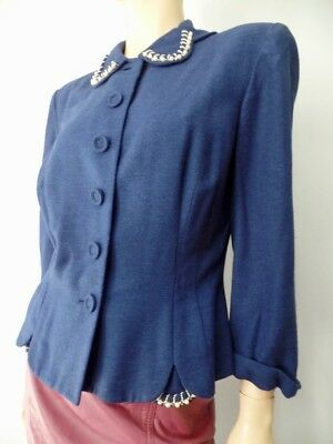 Vintage 30s 40s Navy Blue Wool Pearl Rhinestone Beaded Blazer Suit Jacket S M