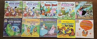 10 Disney Read Along Books ONLY No Cassettes Vintage 1970'S (H)