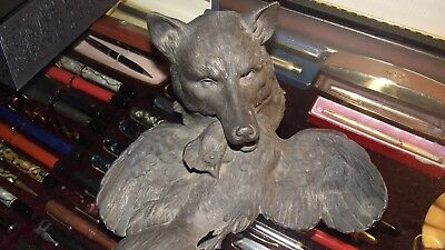 Antique Wolf's Head with Bird Inkwell, Very Rare, Very Old