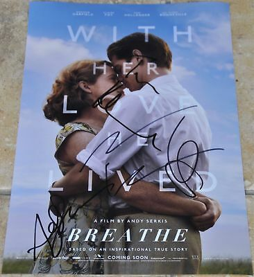 """Breathe Multi Signed 12"""" x8"""" Photo Andrew Garfield , Claire Foy , Andy Serkis +1"""