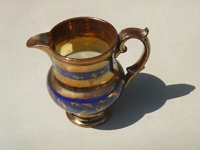 Mid 19th. Century English Copper Lustre Pitcher with Cobalt Blue Bands