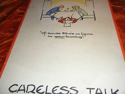 Careless Talk-Of Course There's No Harm In Your Knowing! WWII ORIGINAL FOUGASSE