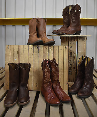 5 X Mens Authentic Vintage Leather Western Cowboy Boots (50)