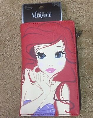 Disney The Little Mermaid Ariel Big Face & Tail Wallet With Zip Pocket NWT!