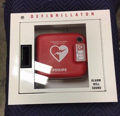 Philips HeartStart FRx AED w/ Case, Pads, Alarm Cabinet - AED needs new battery