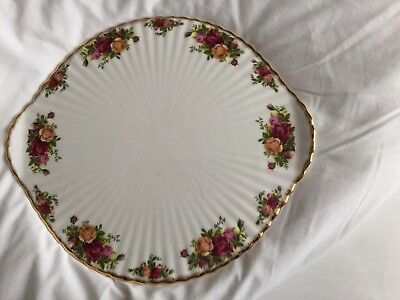 Royal Albert Large Old Country Roses Cake Platter with Small Feet & Handles