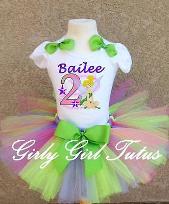 Tinkerbell Green/Lavender/Pink Stars Birthday Tutu Outfit Personalized Custom