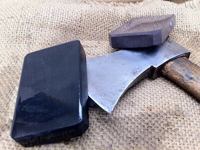 PAIR OF NATURAL HONE SHARPENING STONE IDEAL FOR AXE HATCHET  RAZOR BLADE  tool