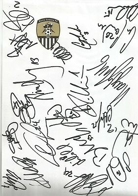 NOTTS COUNTY FC 2017/18 HANDSIGNED CRESTED SIGNED SHEET x 21