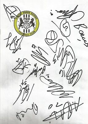 FOREST GREEN ROVERS FC 2017/18 HANDSIGNED CRESTED SIGNED SHEET x 15
