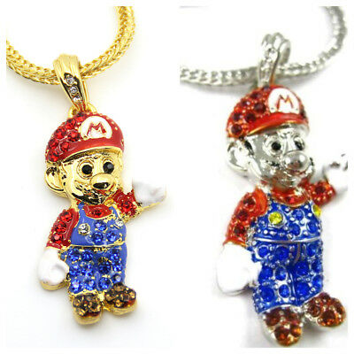 Mario Chain Iced Out Necklace Bling Shiny Rapper Chain Hip Hop Cartoon Shine Ice
