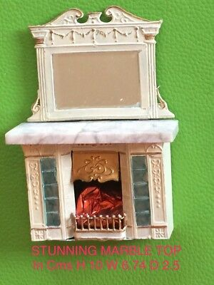 Antique Vintage Dolls House Miniature  Fireplace Marble Top Stunning