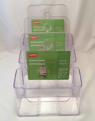 3 New Staples Wall Mountable Brochure Holder No. 16647
