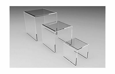 "Fixture Displays Set of 3 Clear Acrylic Display Riser (2"" 3"" 4"" ) Jewelry Sho..."