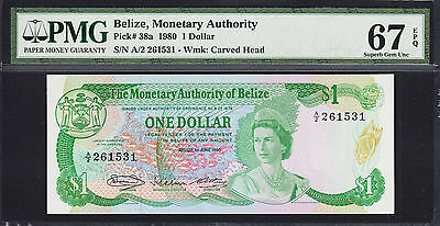Belize QEII One Dollar 1980 Pick-38a Superb GEM UNC PMG 67 EPQ