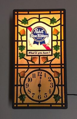 Pabst Blue Ribbon  Working Lighted Clock Advertising Sign