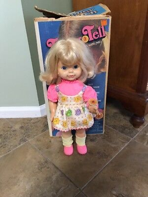 Vintage 1970 Mattel Timey Tell Doll 17 inches with Dress,shoes  and Box