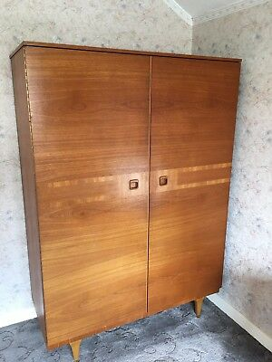 Vintage Mid Century Teak  Double Wardrobe with Internal Mirror and 2 Drawers