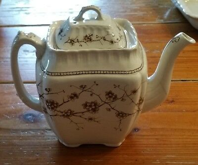 Vintage Transferware China Burslem England Teapot Emery Thorn Brown and White