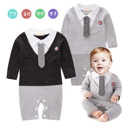 Baby Boy Formal Tuxedo One-Piece Romper Suit REAL TIE Long Sleeve SIZE 00.0.2
